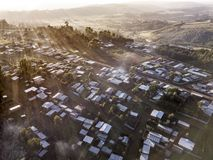 Aerial view of tin shacks and buildings in Ethiopia. Royalty Free Stock Images