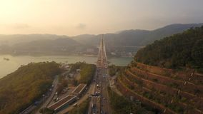 Aerial view of Ting Kau Bridge. Highways in Hong kong with structure of suspension architecture in transportation and travel royalty free stock photos