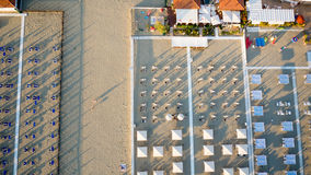 Aerial view of Tirrenean private beach Royalty Free Stock Photos