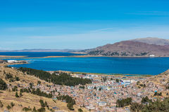 Aerial view of Titicaca Lake in the peruvian Andes Puno Peru stock photography