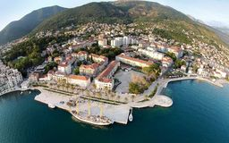 Aerial view of Tivat town and Porto Montenegro.  stock images