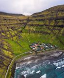 Aerial view of the Tjornuvik village and its beach in the Faroe Islands