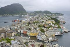 Aerial view to the Alesund city on a cloudy day, Alesund, Norway. Royalty Free Stock Images