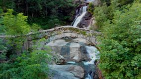 View to amasing waterfall in mountains stock footage