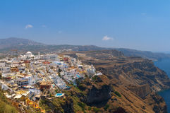Aerial view to the Thira Stock Photos