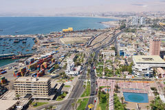 Aerial view to Arica city and port from El Morro hill in Arica, Chile. Stock Photography