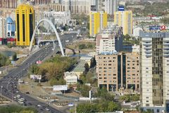 Aerial view to Astana city buildings in Astana, Kazakhstan. Royalty Free Stock Image