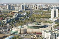 Aerial view to Astana city buildings in Astana, Kazakhstan. ASTANA, KAZAKHSTAN - SEPTEMBER 25, 2011: Aerial view to Astana city buildings on September 25, 2011 Stock Photo