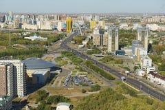Aerial view to Astana city buildings in Astana, Kazakhstan. ASTANA, KAZAKHSTAN - SEPTEMBER 25, 2011: Aerial view to Astana city buildings on September 25, 2011 Royalty Free Stock Photos