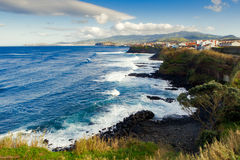 Aerial view to Atlantic ocean shore and mountains. San Miguel, Azores, Portugal Royalty Free Stock Photo