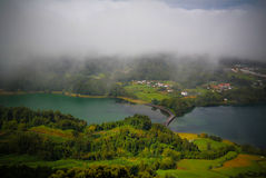 Aerial view to Azul and Verde lakes at Sete Cidades, Sao Miguel, Azores, Portugal Royalty Free Stock Photo