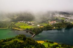 Aerial view to Azul and Verde lakes at Sete Cidades, Sao Miguel, Azores, Portugal Royalty Free Stock Photography