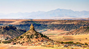 Aerial view to basotho holy mountain, symbol of Lesotho near Maseru, Lesotho Stock Photo
