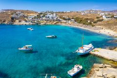 Aerial view to the bay and beach of Agia Anna on the island of Mykonos stock image