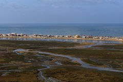 Aerial view to the beach of Faro, Portugal Royalty Free Stock Photo