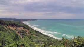Aerial view to beautiful coastline stock video footage
