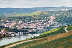 Aerial view to the Bingen am Rhein town from a tourist route not far from Rudesheim am Rhein. Landscape with small german town, agriculture field, forest royalty free stock photos