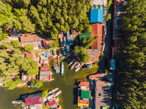 Aerial view to the boat station in lagoon Moored boats and yachts Stock Images