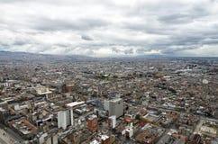 Aerial view to Bogota and Suidad Bolivar under tragic rainy sky Royalty Free Stock Images