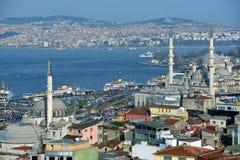 Aerial view to Bosporus strait in Istanbul, Turkey Royalty Free Stock Photos