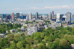 Aerial view to the buildings of Rotterdam, Netherlands. Royalty Free Stock Photos