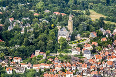 Aerial view to Castle of Kronberg with old village Stock Photography