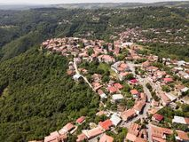 Aerial view to center of Sighnaghi town in Georgia`s region of Kakheti. Signagi. Aerial view to Sighnaghi city - georgian town Signagi in Georgia`s easternmost stock image