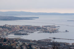 Aerial view to the city center and Port of Trieste in Italy. Stock Photography