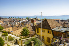 Aerial view to the city of Neuchatel Royalty Free Stock Photos