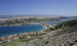 Aerial view to city Pag on Island of Pag in Dalmatia, Croatia stock photos