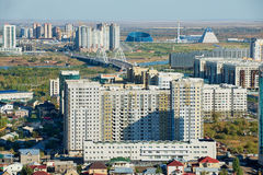 Aerial view to the city residential area buildings in Astana, Kazakhstan. Stock Photography