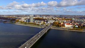 Aerial view to the city traffic on bridge in Riga, Latvia stock footage