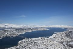 Aerial view to the city of Tromso,  Royalty Free Stock Photography