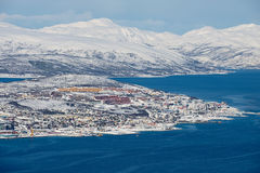 Aerial view to the city of Tromso from the Fjellheisen mountain in Tromso, Norway. Royalty Free Stock Photography