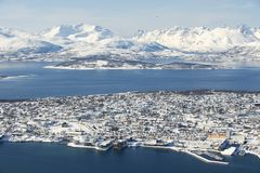 Aerial view to the city of Tromso, 350 kilometers north of the Arctic Circle, Norway Stock Photography