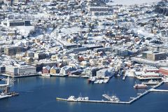 Aerial view to the city of Tromso, 350 kilometers north of the Arctic Circle, Norway Royalty Free Stock Images