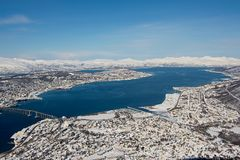 Aerial view to the city of Tromso, 350 kilometers north of the Arctic Circle, Norway. Stock Images