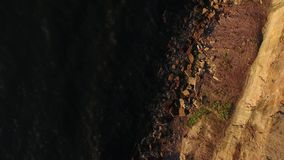 Aerial view to cliff and baltic sea in estonia stock video footage