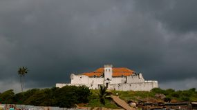 Aerial view to Coenraadsburg fortress from the roof of Elmina castle, Ghana stock photos