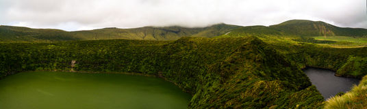 Aerial view to Comprida and Negra lakes , Flores island , Azores. Portugal Stock Images