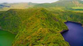 Aerial view to Comprida and Negra lakes , Flores island , Azores. Portugal Royalty Free Stock Photos