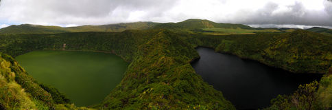 Aerial view to Comprida and Negra lakes , Flores island , Azores. Portugal Royalty Free Stock Images