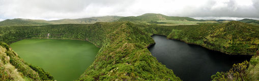 Aerial view to Comprida and Negra lakes , Flores island , Azores. Portugal Stock Photos