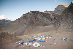Base Camp. Aerial view to confluencia base camp Royalty Free Stock Photo