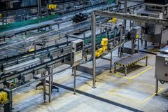 Aerial view to conveyor belts of production line Royalty Free Stock Photography