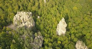 Aerial view to Dovbush Rocks in Bubnyshche, Carpathian mountains, Ukraine. Aerial view to Dovbush Rocks in Bubnyshche - a legendary place, the ancient cave stock footage