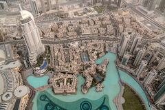 Aerial view to Dubai from top of Burj Khalifa skyscraper - 10-01-2015, Dubai, UAE Stock Photo