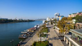 Aerial view to embankment of Rostov-on-Don. Russia Stock Photo