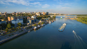 Aerial view to embankment of Rostov-on-Don. Russia Royalty Free Stock Images