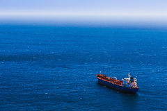 Aerial view to empty container cargo ship Royalty Free Stock Photo